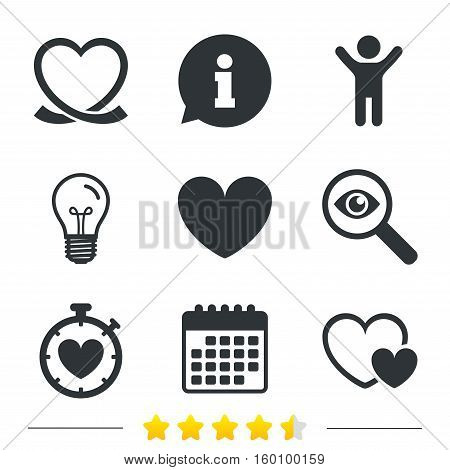 Heart ribbon icon. Timer stopwatch symbol. Love and Heartbeat palpitation signs. Information, light bulb and calendar icons. Investigate magnifier. Vector
