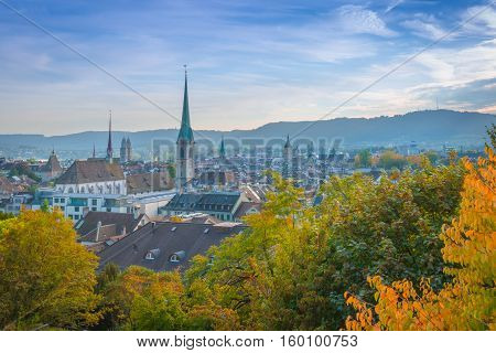 Top view of the Zurich city. Autumn