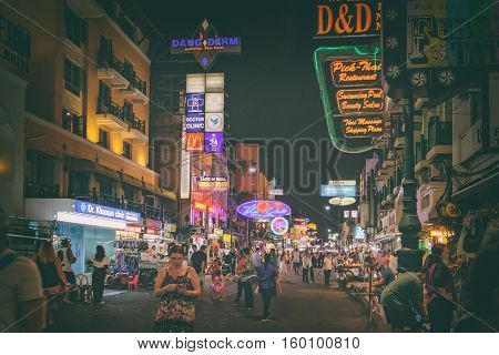 Bangkok, Thailand - January 12, 2016: Khaosan road at night a popular food street and famous district for back packer and budget tourist.