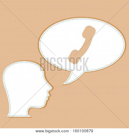 Head And Phone Handset On Speech Bubbles