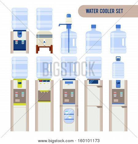 Vector set with water cooler and bottle. Modern flat illustration isolated on white background. Water jug with faucet, portable water cooler and other elements