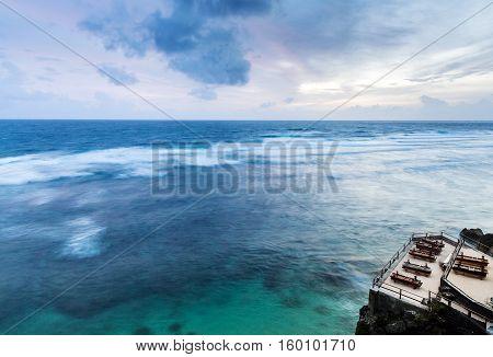 Tropical Beach With Wooden A Sun Lounger