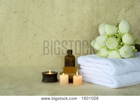 Towels And Lotus Flowers