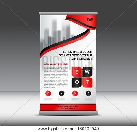 Red Roll Up Banner template vector illustratio,n banner design, standy design, display, advertisement, x-banner