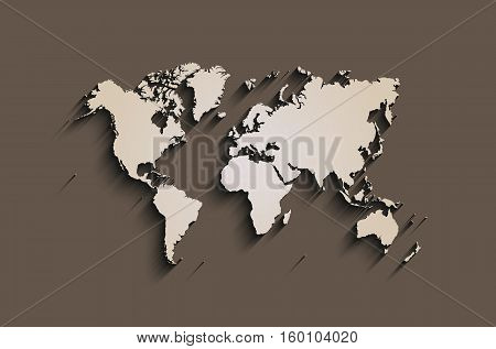 flat world map. abstract vector background for wallpaper banner. design concept. clearly template. minimalistic map with shadow in brown color