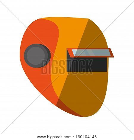 cartoon yellow welder mask eyes security sign shadow vector illustration eps 10