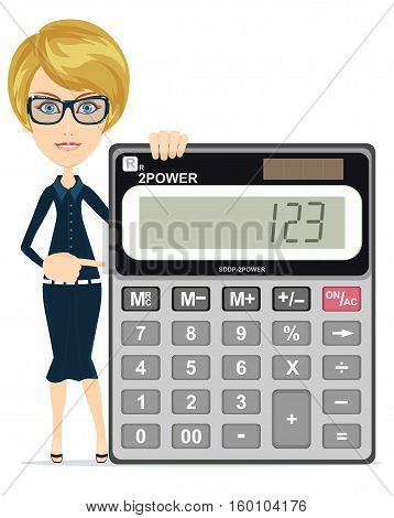 Accountant or manager shows the calculator to work, for use in presentations. Stock Vector illustration