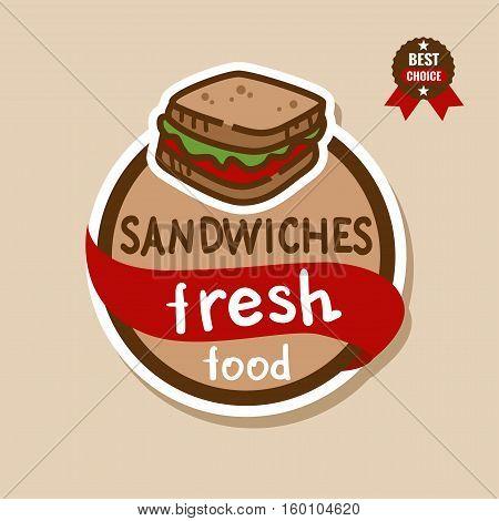 Flat color sandwich icon. Sandwiches menu label.