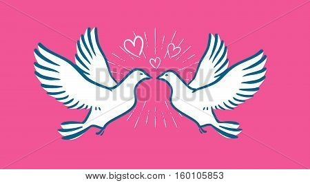 White dove flying. Wedding, love symbol. Valentine day banner