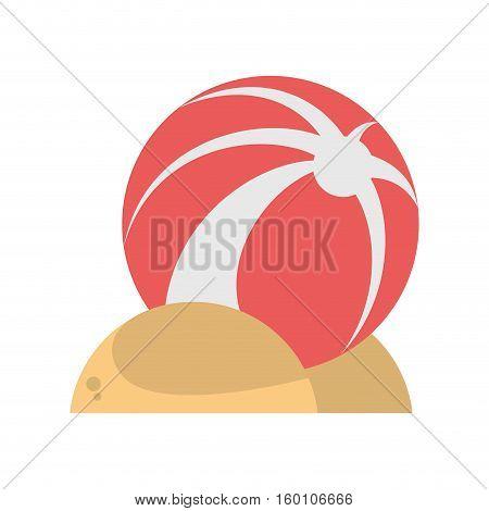 pink ball plastic sand play beach vector illustration eps 10