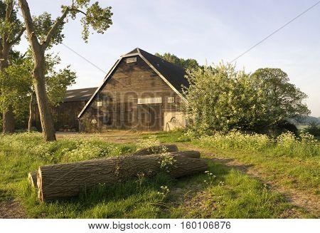Farm building near Nieuwendijk in the Dutch National park Hollandse Biesbosch