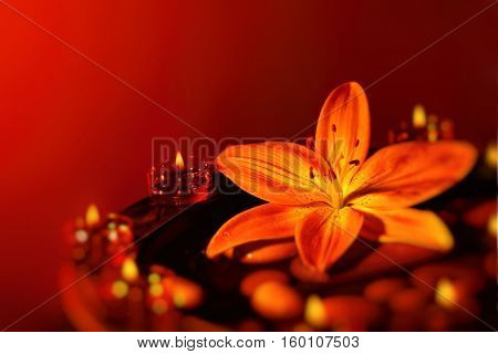 Beautiful spa composition, fresh lily flower on the spa stones decorated with candles over red background, romantic still life with copy space, alternative medicine, beauty treatment concept
