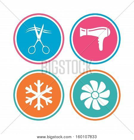Hotel services icons. Air conditioning, Hairdryer and Ventilation in room signs. Climate control. Hairdresser or barbershop symbol. Colored circle buttons. Vector