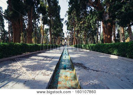Water rill in Historical Fin Garden in Kashan city Iran