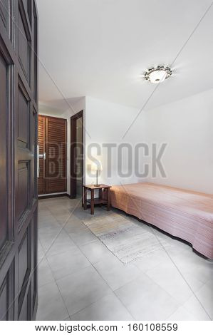 Small Apartment Room / Bedroom With Wooden Furniture