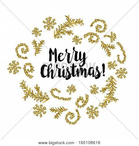 Christmas greeting card on white background with golden elements and text Merry Christmas