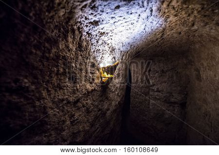 Passageway of Nooshabad (Nushabad) underground city called Ouee in Iran