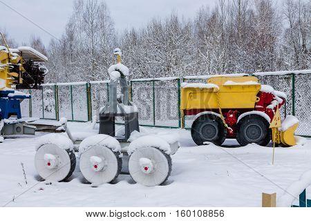 Zalesie village Kobeliaky, Chernobyl, Ukraine -- December 3, 2016. Technique which was purified 4 th reactor of radiation debris. Chernobyl. Ukraine.