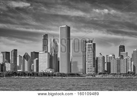Black And White Photo Of Chicago City Skyline, Usa