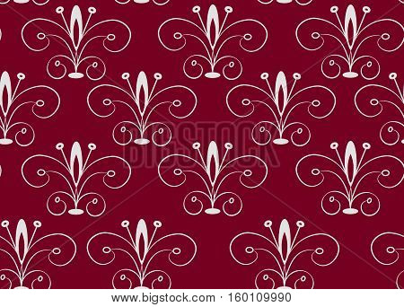 Simple pattern in oriental style. Gray claret seamless vector pattern