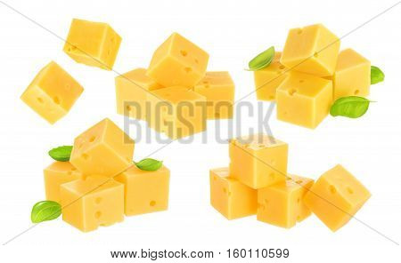 Piece of cheese isolated on a white background. With clipping path.