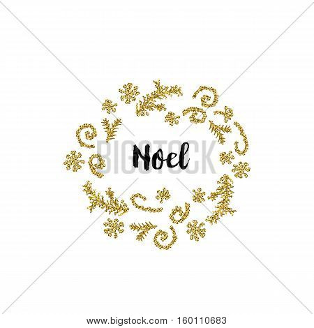 Christmas greeting card on white background with golden elements and text Noel