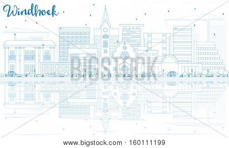 Outline Windhoek Skyline with Blue Buildings and Reflections. Business Travel and Tourism Concept with Modern Architecture. Image for Presentation Banner Placard and Web Site.