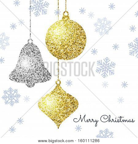 Merry Christmas background with gold and silver hanging baubles and blue snowflakes. Shining glitter textured ball bell and pine cone on a white background. Vector template for greeting card.