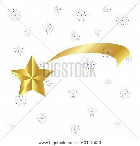 Christmas  Ribbon Shooting Star Icon Symbol Design. Vector Shooting Comet  Illustration Isolated On