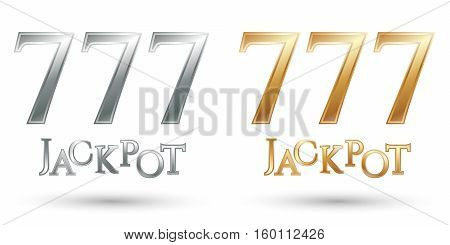 Triple numbers seven. Casino 777. Lucky sevens jackpot. Vector illustration