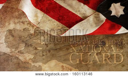 Happy Birthday National Guard. Usa Flag and Chart on Wood