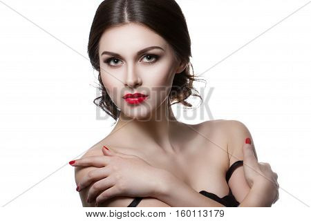 Portrait Of A Beautiful Young Woman With A Professional Make-up On A White Background. Perfect Beaut
