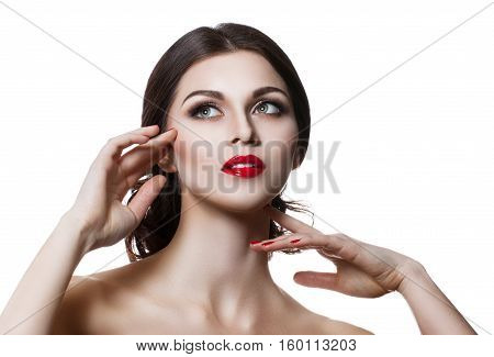Beautiful Sensual Woman Touching Her Face. Beauty And Skincare Concept. Isolated Over White.