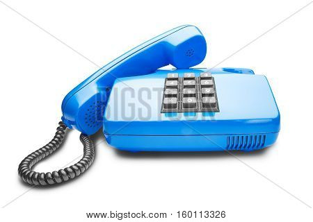 handset lies on the blue landline phone