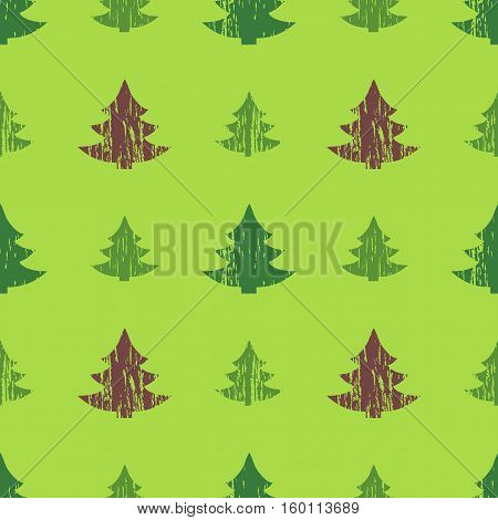 Abstract seamless pattern with Christmas trees in grunge style with scratches, vector illustration