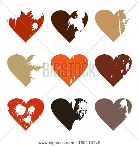 Set with nine grunge icons of hearts with splashes of paint