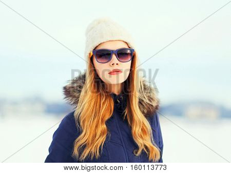 Fashion Winter Portrait Pretty Blonde Woman Wearing A Jacket Hat And Sunglasses