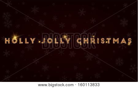 Holly Jolly Christmas. Golden Glitter Greeting Card. Luxurious Design Element, Vector Illustration.