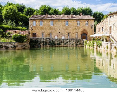 Square of Sources in Bagno Vignoni, medieval village in Tuscany, Italy
