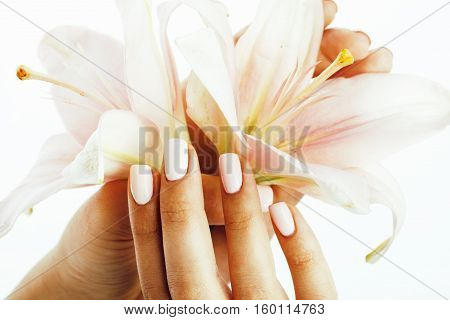 beauty delicate hands with manicure holding flower lily close up isolated on white, modern spa salon concept