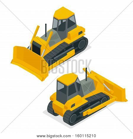 Isometric dozer or bulldozer. Set of the construction machinery vehicles.Continuous tracked tractor for mines, quarries, military bases, heavy industry factories, engineering projects, farms.