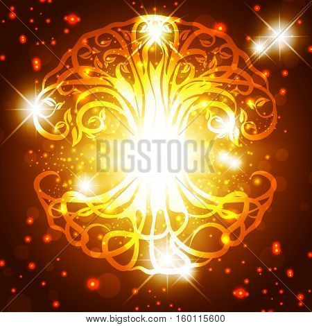 Tree of Life Golden Background With Magic Lights and Stars