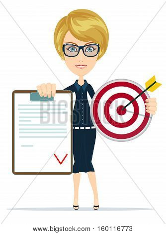 Business woman or manager shows contract and target, for use in presentations. Stock Vector illustration