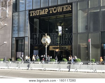 NEW YORK CITY, USA - November 23, 2016. Trump Tower in New York City barricaded to protect President Elect Donald Trump and his family. This building is the headquarter of the Trump Organization and is currently heavily covered by the U.S. Secret Service.