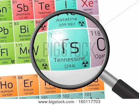 Element Of Tennessine With Magnifying Glass
