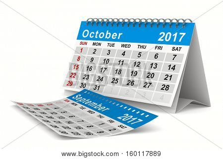 2017 year calendar. October. Isolated 3D image