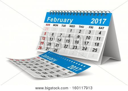 2017 year calendar. February. Isolated 3D image