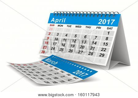 2017 year calendar. April. Isolated 3D image