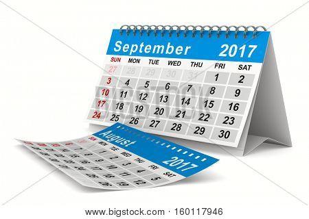 2017 year calendar. September. Isolated 3D image