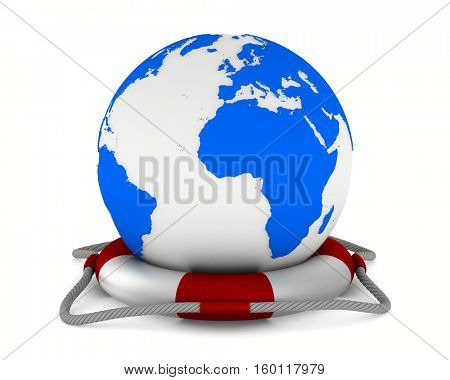 lifebuoy and globe on white background. Isolated 3D image